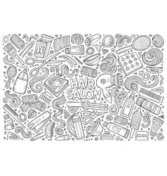 cartoon set of Hair salon theme objects vector image