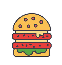 Cheeseburger burger hamburger concept line vector