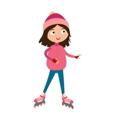 Cute young girl in roller pink skates hats and vector image vector image
