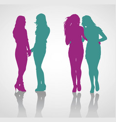 detailed silhouettes of teenage girls vector image vector image