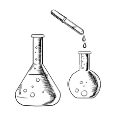 Dropper and laboratory flasks sketch vector