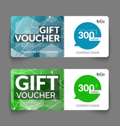 Gift voucher template with colorful and modern vector image