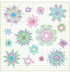 hand draw doodle star element set vector image