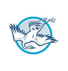 Heron Crane Diving Down Cartoon vector image vector image