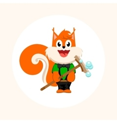 Isolated orange squirrel with mop logo vector