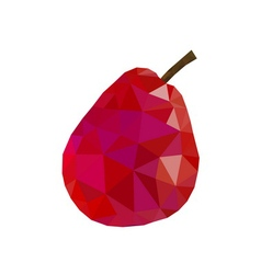 Low poly pear icon red vector