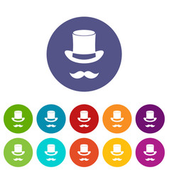 Magic black hat and mustache set icons vector
