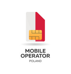 Poland mobile operator sim card with flag vector