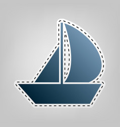 Sail boat sign blue icon with outline for vector