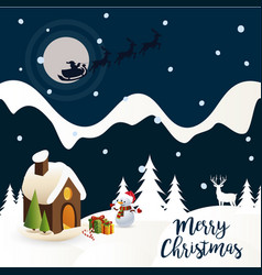 santa claus on a sleigh in the sky a small house vector image vector image
