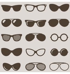 Set of brown retro sunglasses icons vector image