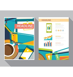 Set of magazine cover flyer brochure template vector
