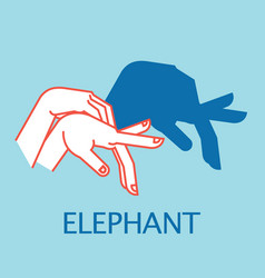 Shadow theater hands gesture like elephant vector