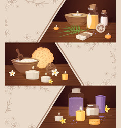 spa beauty cartoon horizontal banners vector image