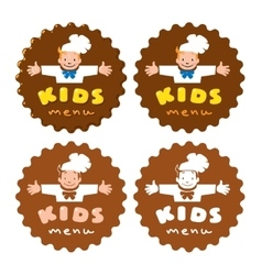 Sticker for kids menu with funny cook boy and logo vector