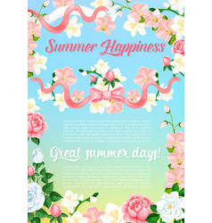 Summer flowers bouquet greeting poster vector