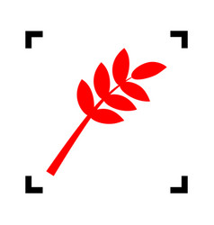 Tree branch sign red icon inside black vector