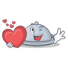 With heart tray character cartoon style vector