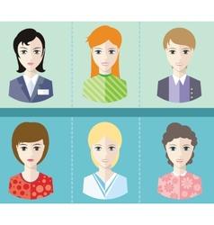 Women avatars portraits on blue background vector image vector image