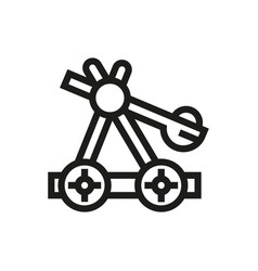 Wooden catapult icon on white background vector