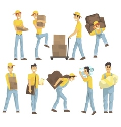 Delivery And Moving Company Employees Carrying vector image