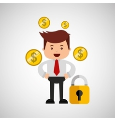 Business man secure money currency vector