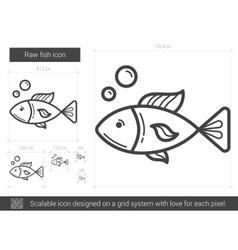 Raw fish line icon vector