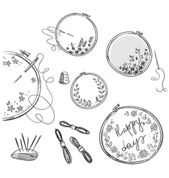 Embroidery set drawing vector