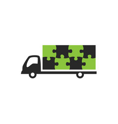 Truck and puzzle logo vector
