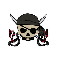 Cartoon pirate skull hat patch eye with cross vector
