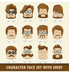 Men character icon set with shirt vector