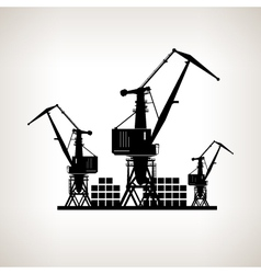 Silhouette cargo cranes and containers vector
