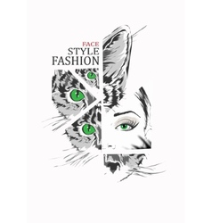 Fashion girl and cat in sketch-style vector