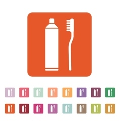 The toothpaste and toothbrush icon bathroom vector