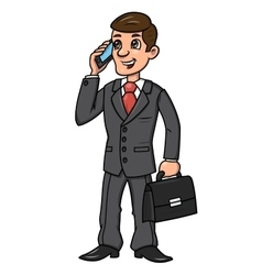 Businessman talking on phone 2 vector