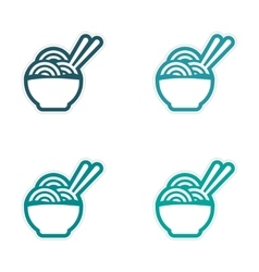 Assembly sticker asian dish of noodles and vector