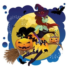 Witch and Full Moon2 vector image