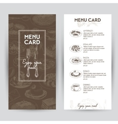 hand drawn with italian food vector image