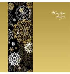 Winter design with golden white snowflakes on vector image