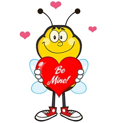 Smiling bumble bee cartoon with a red love heart vector