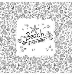 Beach and sea doodles vector