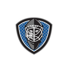 Ice hockey goalie helmet crest retro vector