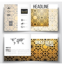 Set of square design brochure template islamic vector