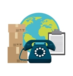 Planet phone package and check list icon delivery vector