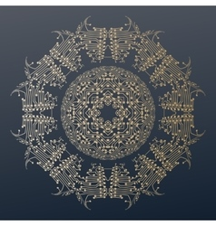 Abstract golden microchip pattern mandala vector