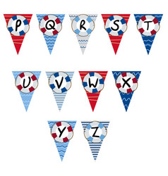 Alphabet nautical garland p to z - vector