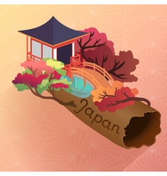 Autumn japanese temple building and red leaf tree vector