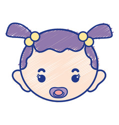 Baby girl head with pacifier and hairstyle vector