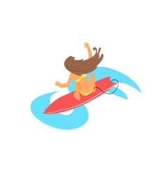 Brown-haired girl on surfboard from above vector