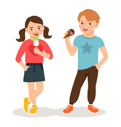 Cartoon children eating ice cream vector
